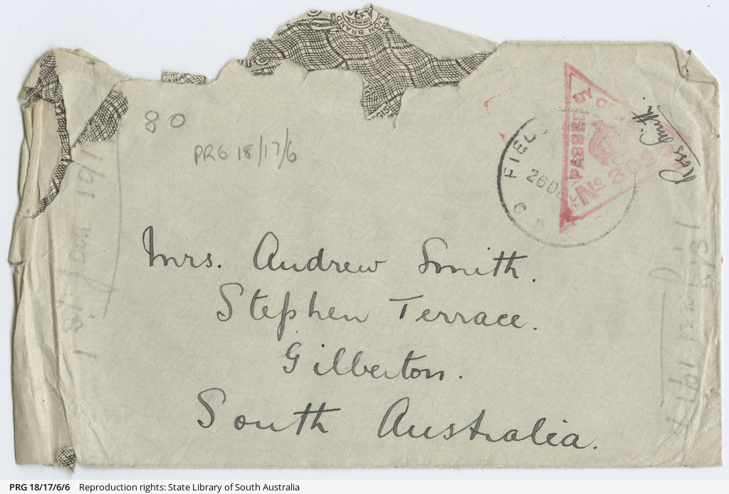 Letter from Ross Smith in Egypt camp during World War I to his mother, New Years Day