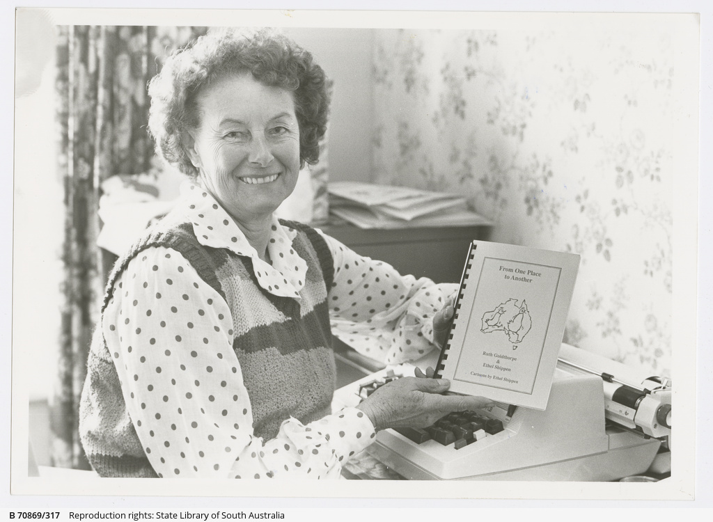 Ruth Goldthorpe with her book, 'From one place to another.' 1988.