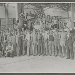 Employees of the Commonwealth Aircraft Corporation with the last CAC Boomerang.