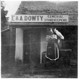 Elizabeth Dowty outside her general store at Willunga