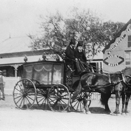 Funeral carriage outside the business of Charles Brown at Willunga