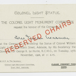 Ticket to unveiling of the statue of Colonel William Light