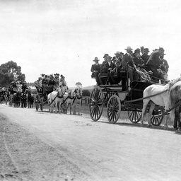Horse drawn vehicles with passengers on a South Australian country road