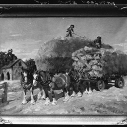 Painting of a horse drawn wagon