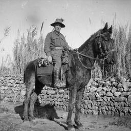 Australian soldier on a horse.