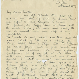 Letter from Ross Smith following World War I to his mother, on board Royal Indian Marine Ship Minto