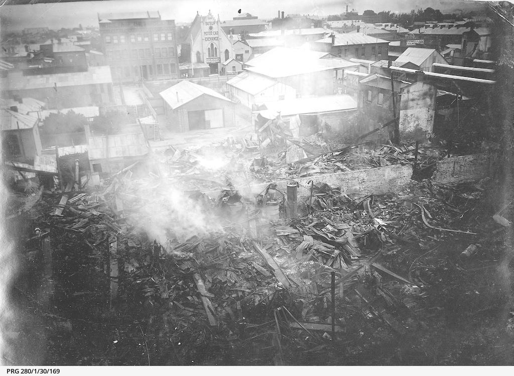 Fire damage at Duncan and Fraser, Franklin Street, Adelaide
