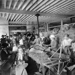 Women working on making sacks for the war effort during World War I