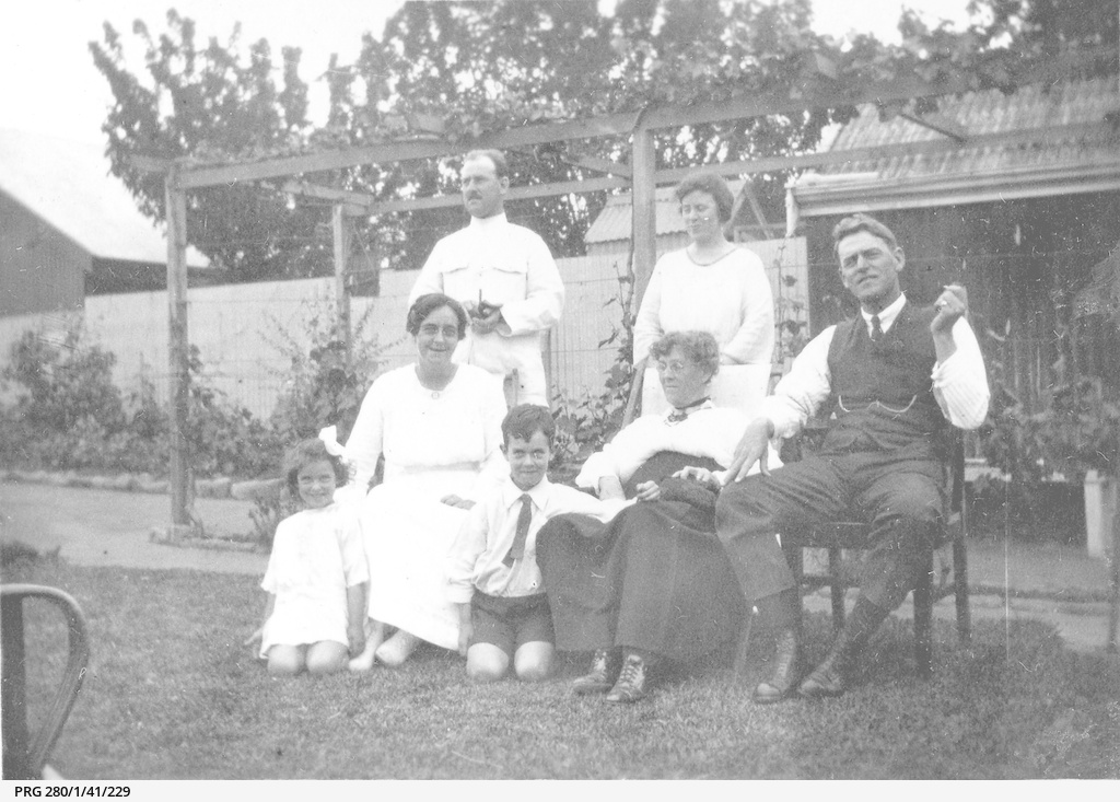 Members of the Searcy family in a garden