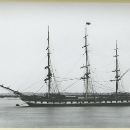 The 'Shannon' moored at Gravesend, U.K.