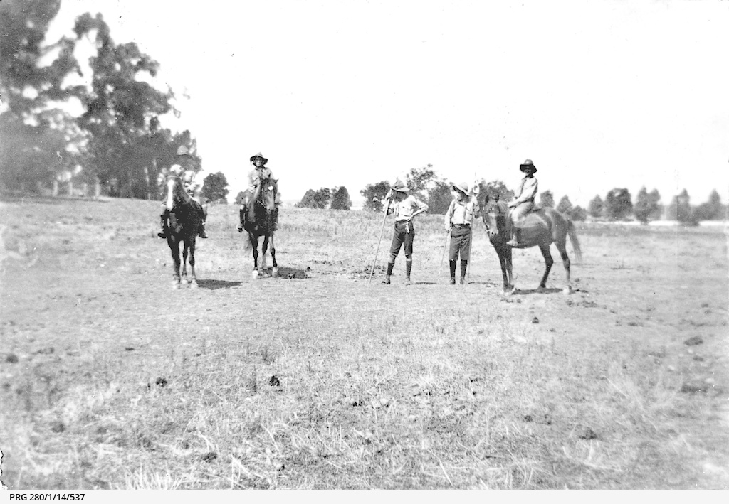 Boy Scouts being tested for horsemanship skills