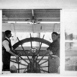 Captain Payne and Bill Baker in S.W. Captain Sturt's wheelhouse