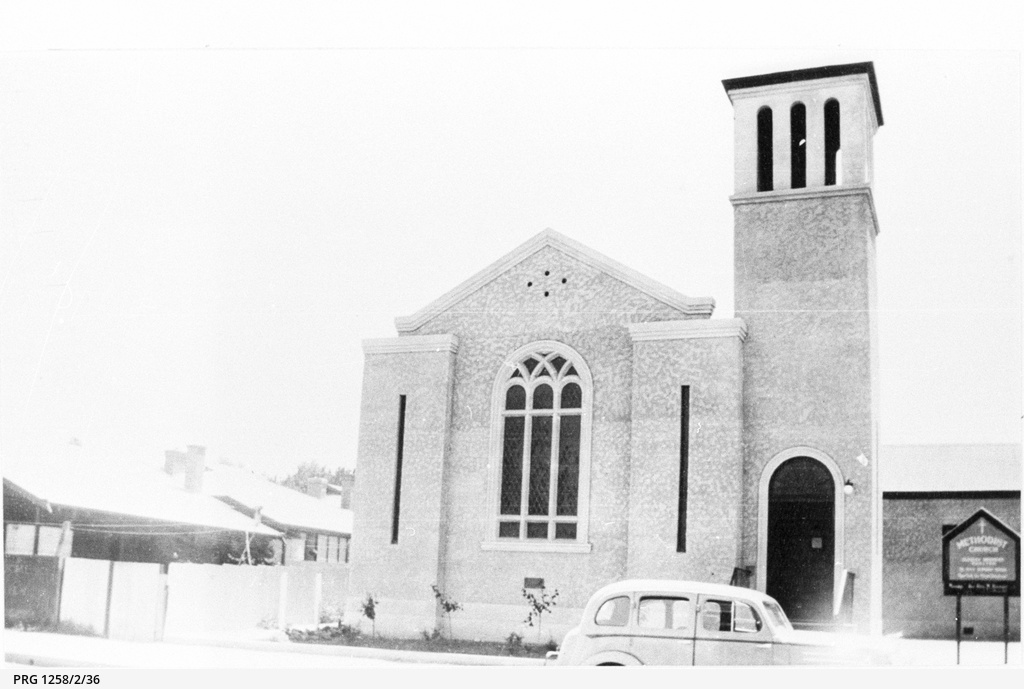 Berri Methodist Church with bell tower