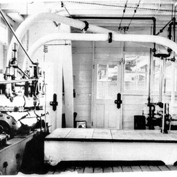View of S.W. Captain Sturt's engine room showing gauge at right