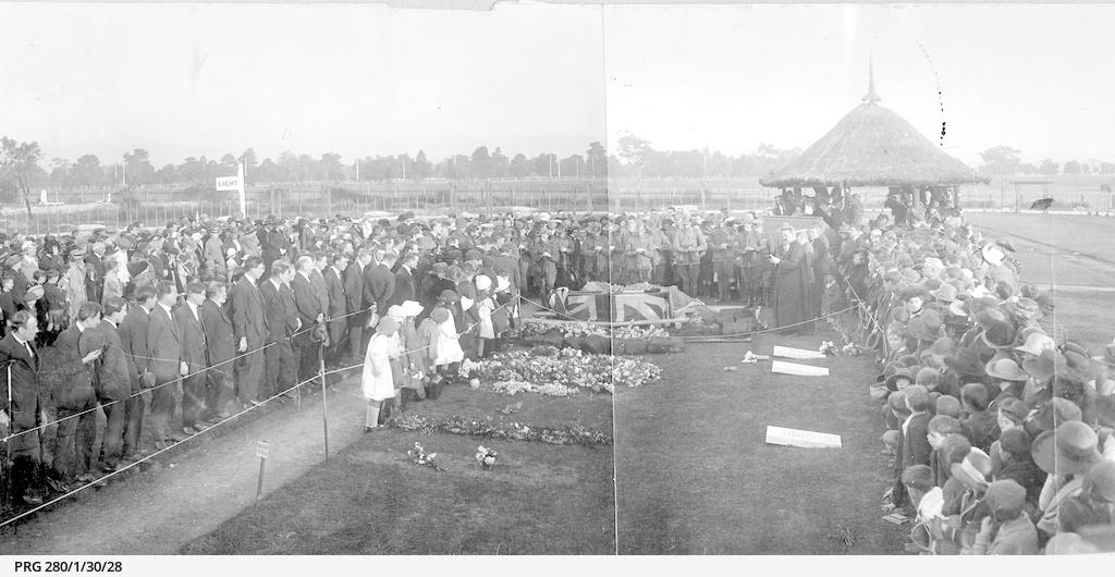 Funeral service for Joergen Christian Jensen, V.C., at West Terrace Cemetery.