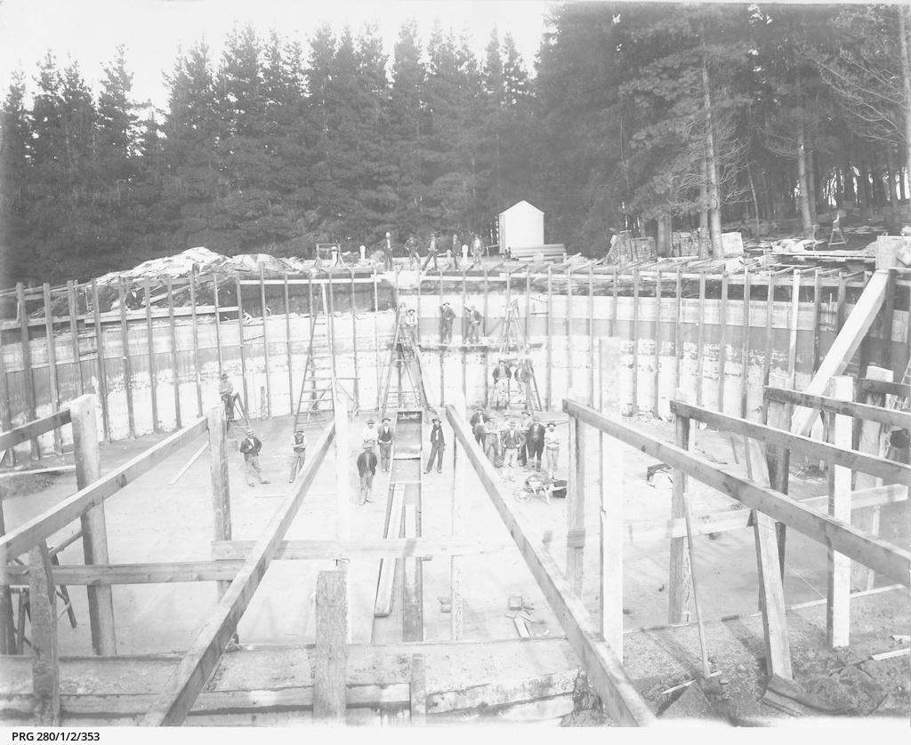 Workmen building a large waterwork tank at Mount Gambier