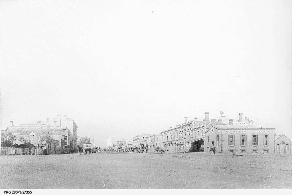 Distant view of the King William Street, North Terrace intersection