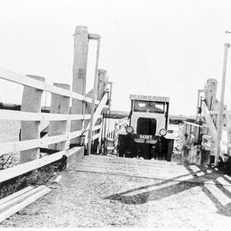 Lorry labelled 'Plume Motor Spirit' crossing on Tailem Bend Ferry