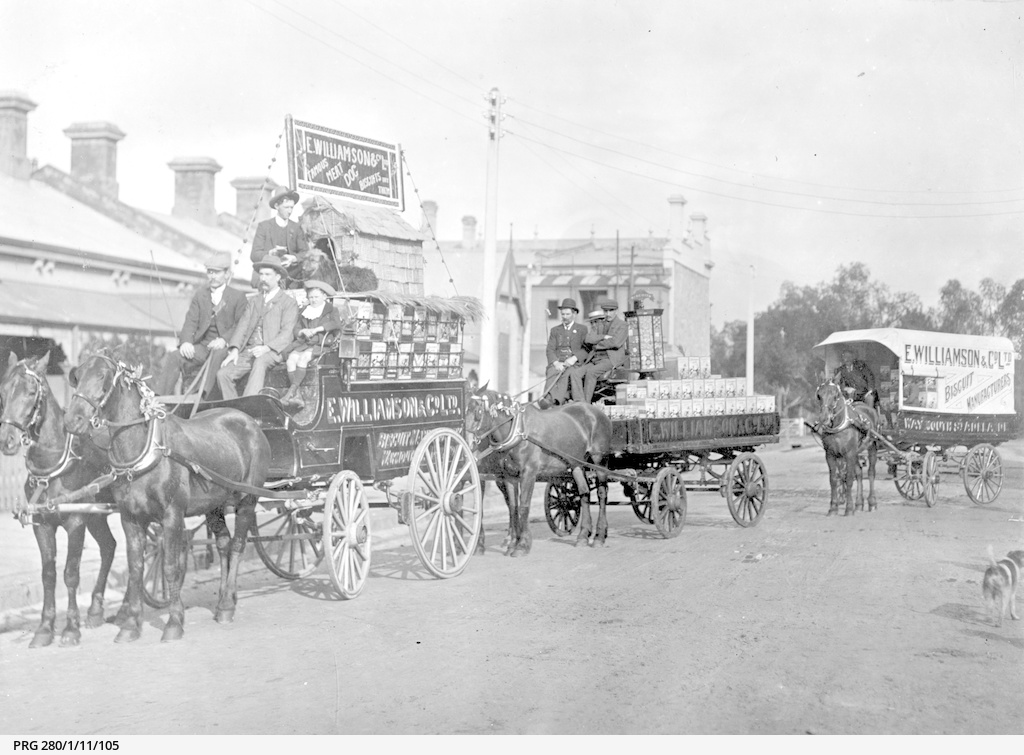 Horse drawn vehicles owned by E.Williamson & Co.Ltd. of Adelaide, South Australia