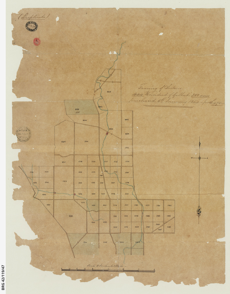 Tracing of section purchased in the Hundred of Gilbert [cartographic material]