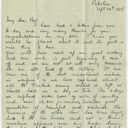 Letter from Ross Smith during World War I to his father, Palestine