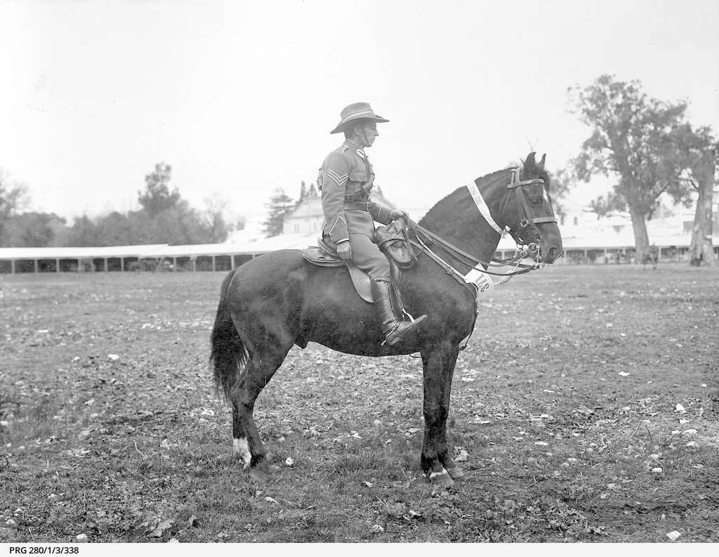 A smart turn-out of a uniformed army sergeant riding a prize-winning horse