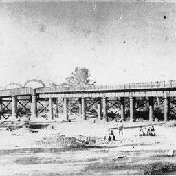 Hopwood's pontoon bridge and ferry at Echuca