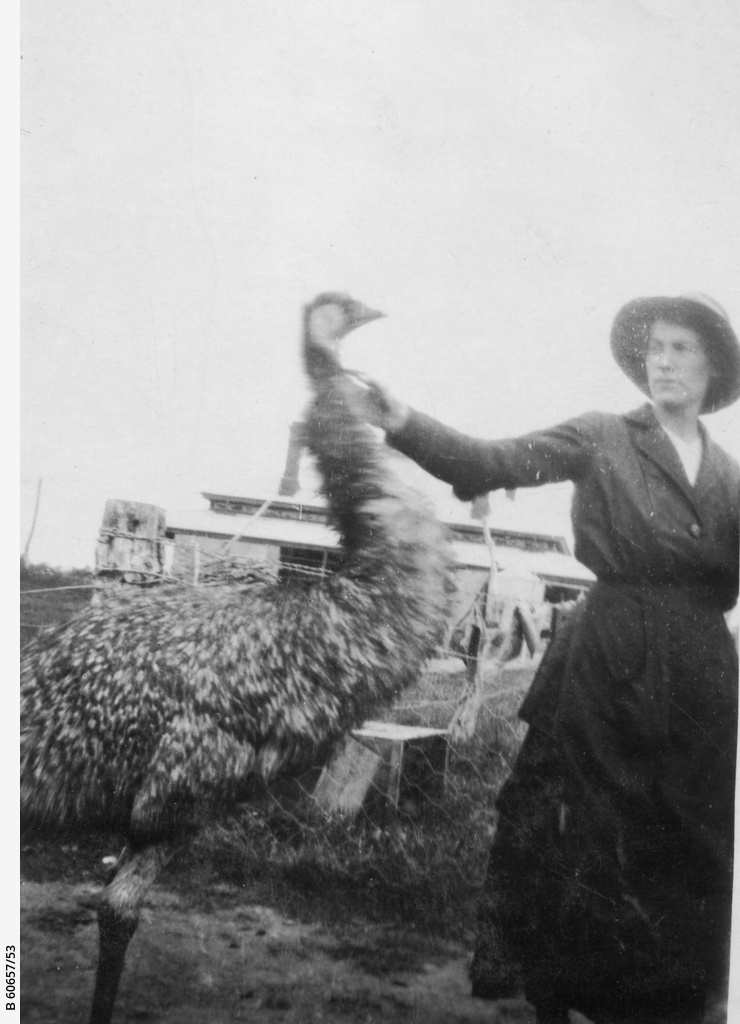 Woman with emu