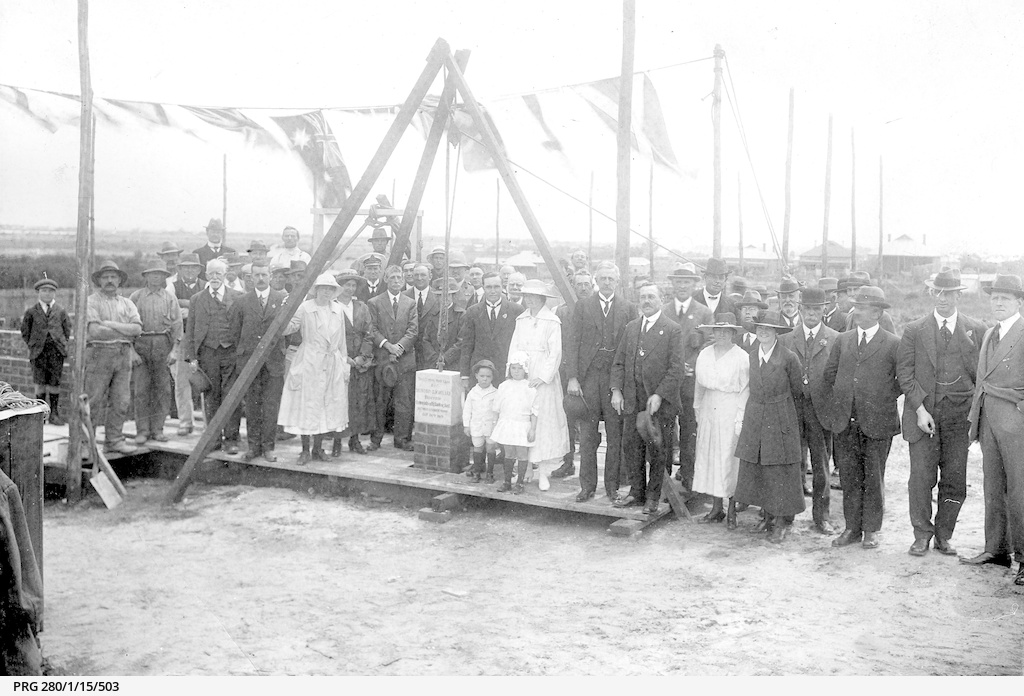 Foundation stone ceremony at a site for a new Commonwealth Bank