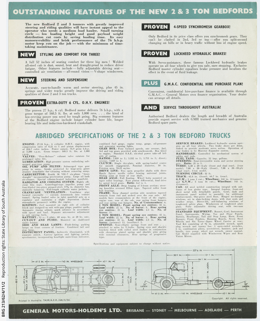 Bedford truck leaflet: 'Model A3L, 2 and 3 ton, 143 inch