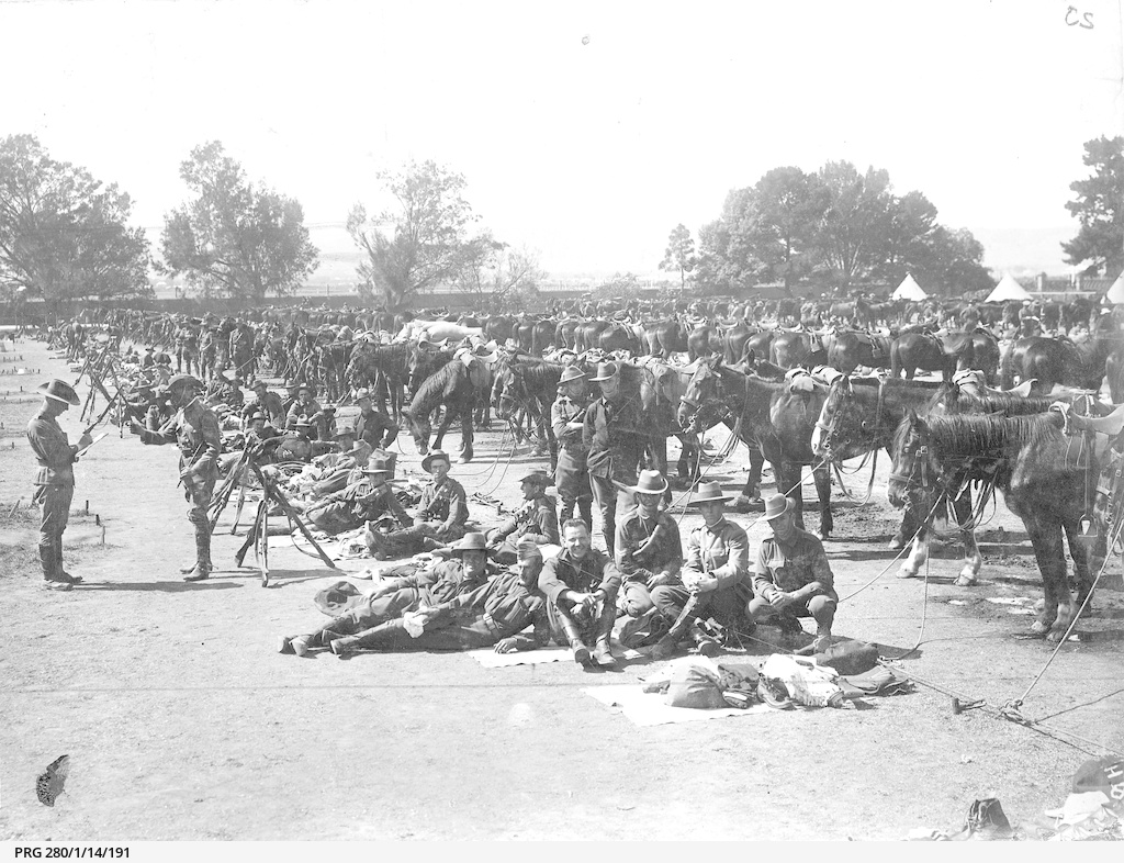 Soldiers at the horse lines