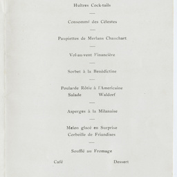 Dinner menu of the Hotel Australia in honour of Sir Ross Smith, Sir Keith Smith and crew.