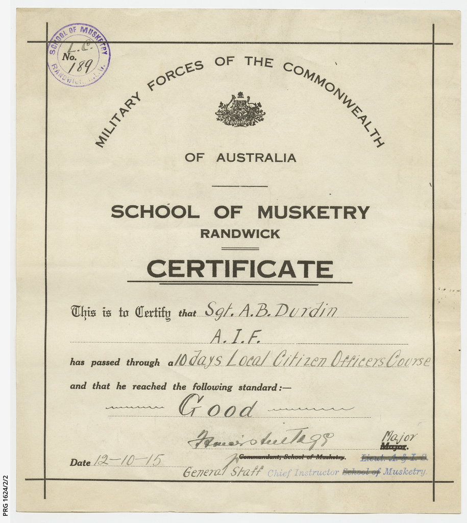 Australian Military Forces Certificates Manuscript State Library