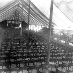 Interior of a Cheer Up Society marquee