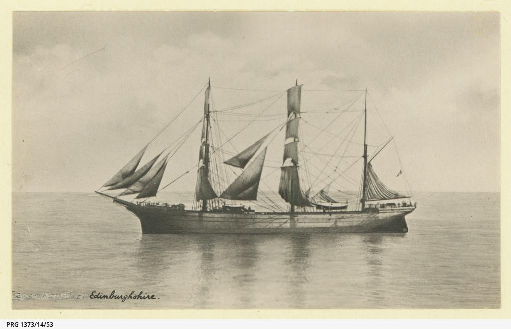 The 'Edinburghshire' under sail in Italian colours