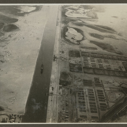 Aerial view of the Suez Canal.