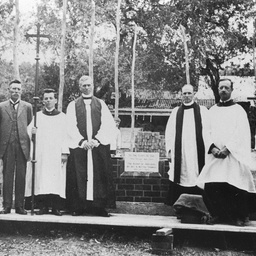 Laying the foundation stone of St Stephen's Church, Willunga