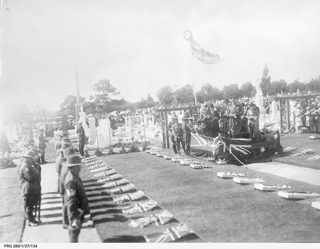 Military grave ceremony in West Terrace cemetery, Adelaide