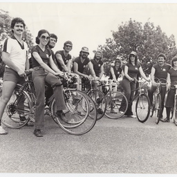 Group of people from the Messenger Press newspaper with bikes