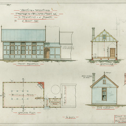 Plans of external buildings and garden features at 'Forest Lodge', Aldgate