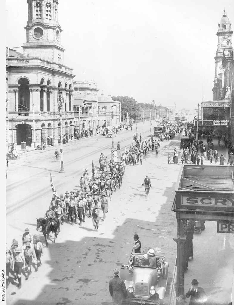 Boy Scouts marching along King William Street, Adelaide