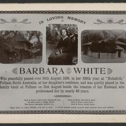 In memoriam card for Barbara White