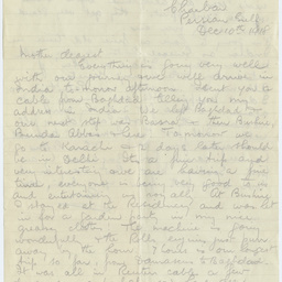 Letter from Ross Smith following World War I to his mother, Persian Gulf