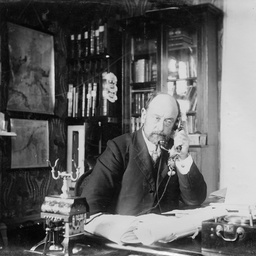 Arthur Searcy working as Commissioner of Taxes and Stamps in his office at Victoria Square, Adelaide