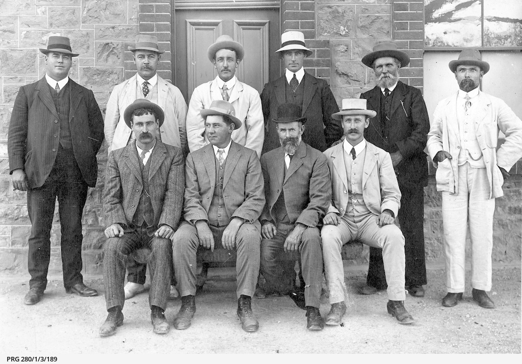 A group of ten men, local residents attending the races at Ardrossan