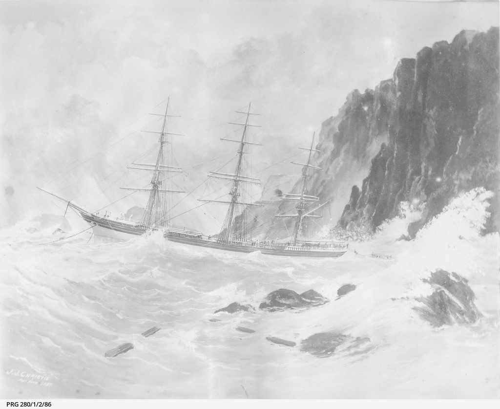 """Sailing vessel """"Duncow"""" at anchor in rough seas off the south coast of Kangaroo Island"""