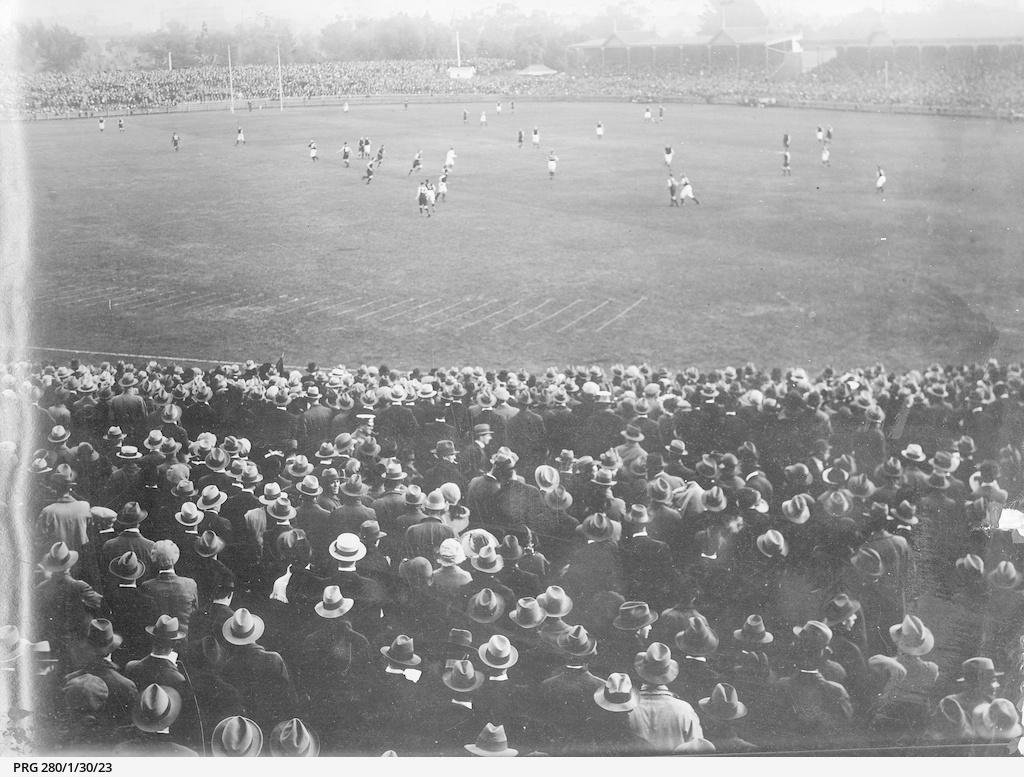 Football match in progress at Adelaide Oval