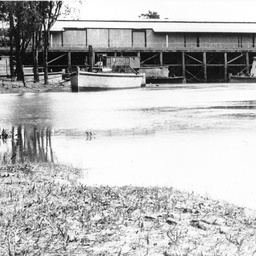 Shipping at Echuca wharf area with exposed mud flat
