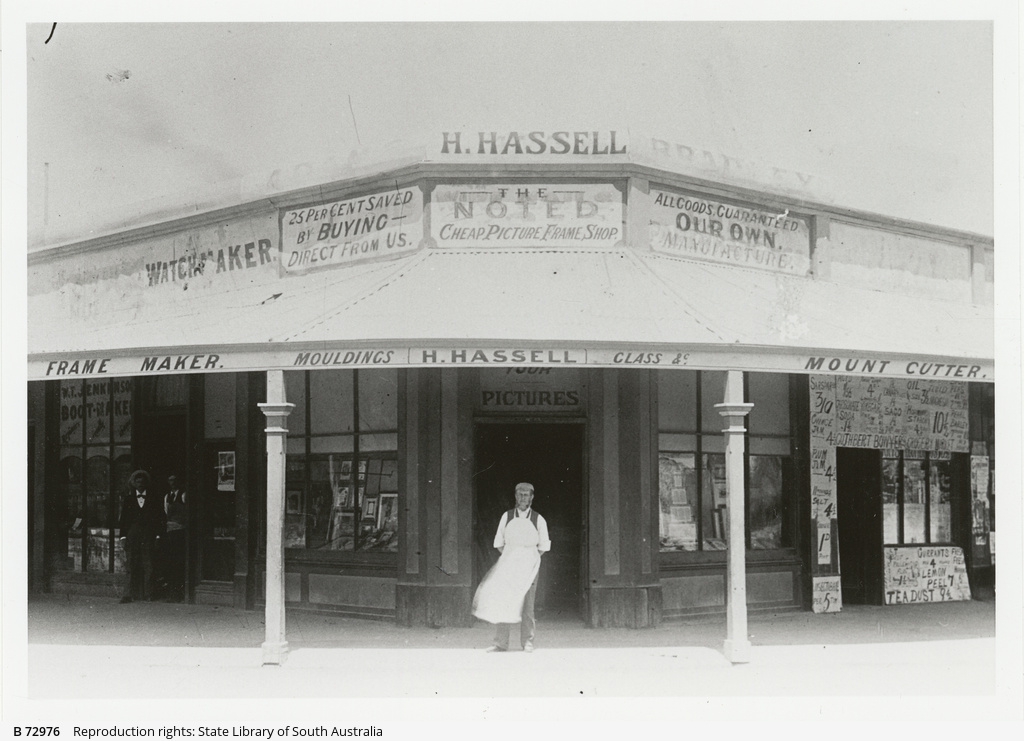 Shop premises of picture framer, H. Hassell