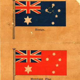 Two examples of Australian Commonwealth flags: the Ensign and the Merchant flag